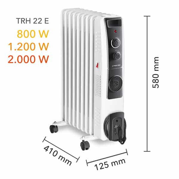 TRH 22E oil filled radiator dimensions