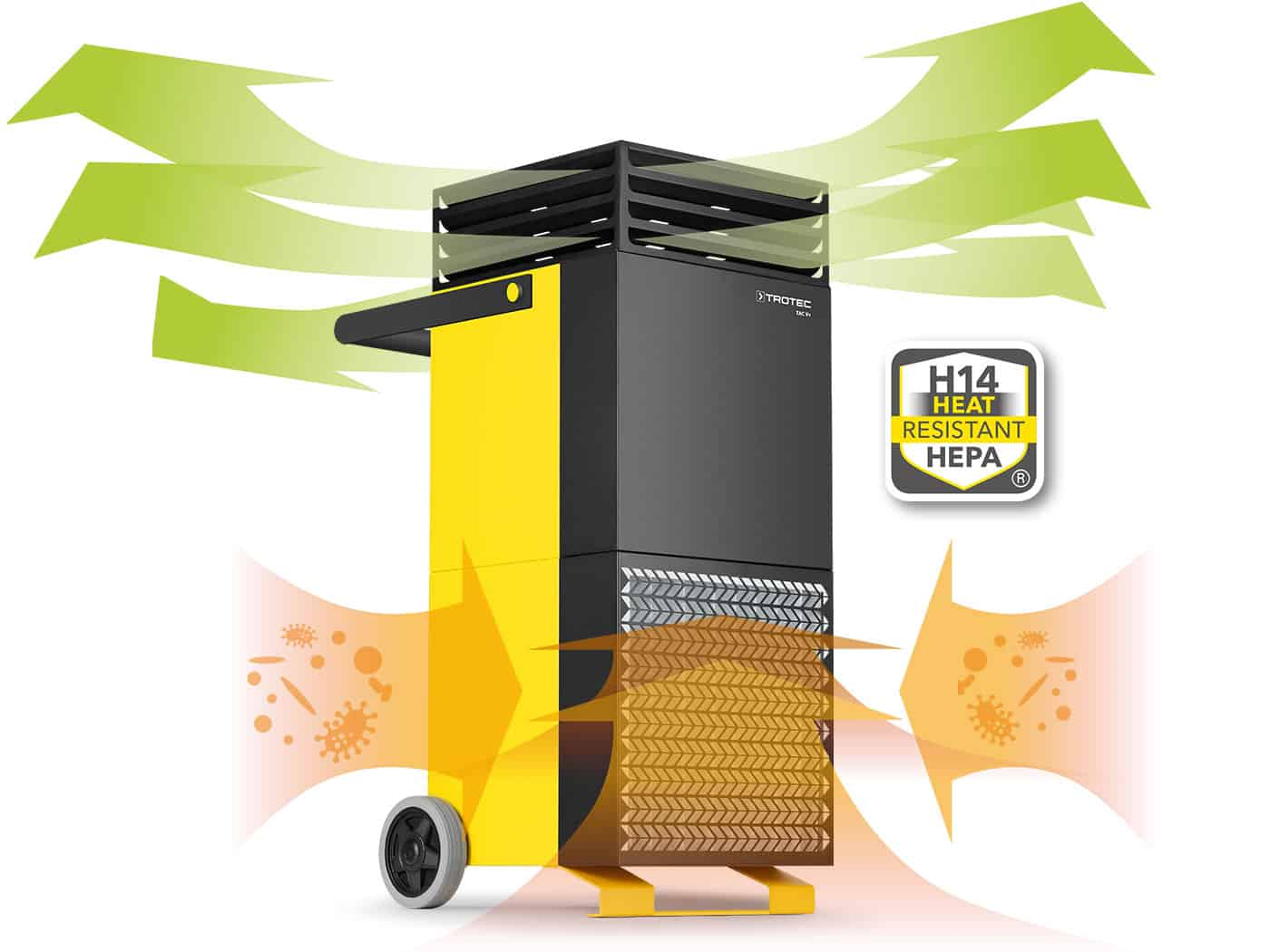 TAC V+ air purifier air flows of fresh & contaminated air